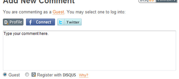 detail of Disqus comment box for a guest account