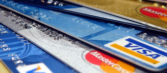 zoomed-in detail of Visa and MasterCard credit cards