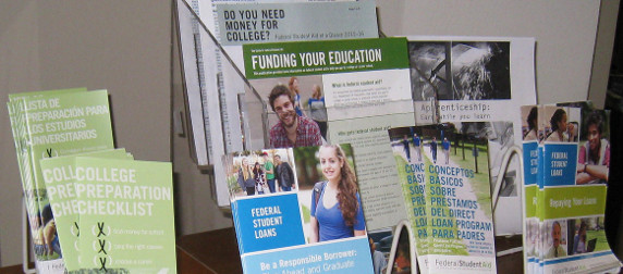 display of printed information about various forms of educational financial aid