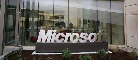 Microsoft sign in front of an office building in Redmond, Washington