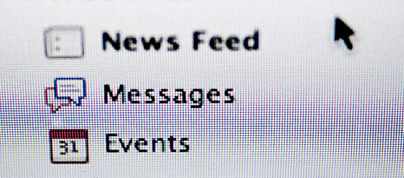detail of Facebook menu reading News Feed, Messages and Events