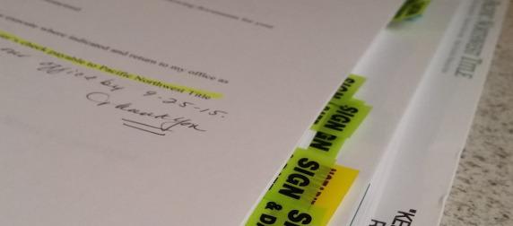 detail of mortgage paperwork