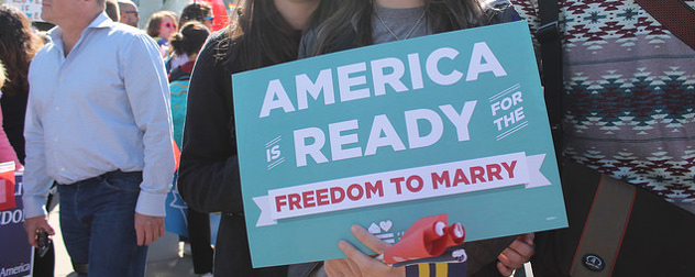 detail of demonstrators' sign reading America Is Ready For The Freedom To Marry