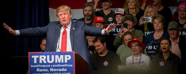 Donald Trump speaking at a campaign event in Nevada