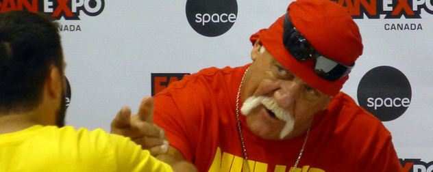 Terry Bollea as Hulk Hogan interacting with a fan at Fan Expo Canada
