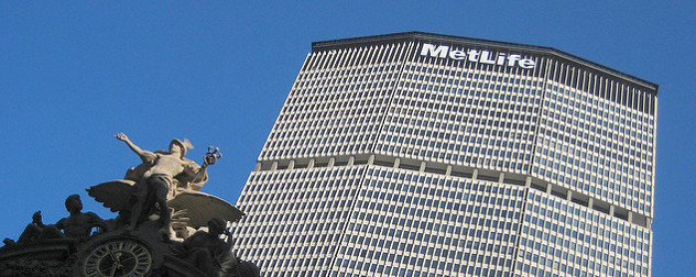 The MetLife Building and decoration on Grand Central Station, viewed against a blue sky