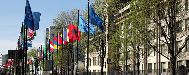 international flags outside the facade of the International Criminal Tribunal for the fomer Yugoslavia