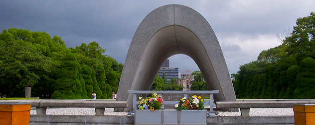 the cenotaph in Hiroshima Peace Memorial Park