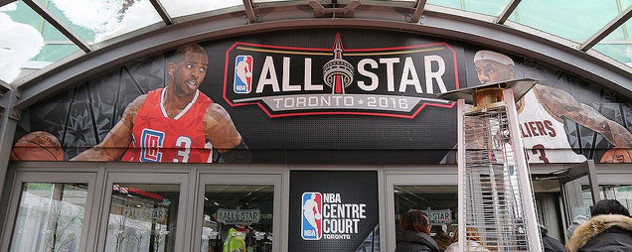 entryway banner reading ALL STAR Toronto 2016 with NBA player images to either side