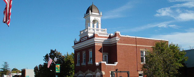 Manassas Town Hall photographed against a blue sky