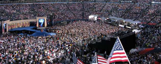 crowd shot of the 2008 Democratic National Convention