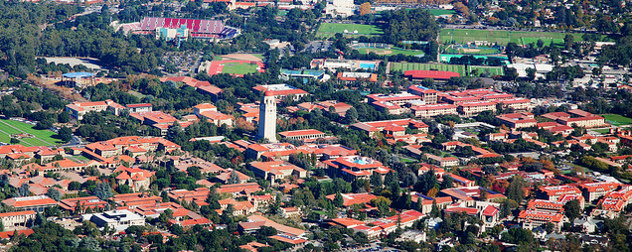 Hoover Tower and the Stanford University campus, seen from the air