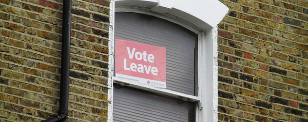 a Vote Leave Brexit sign in a window in Islington