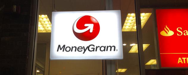 illuminated MoneyGram window sign