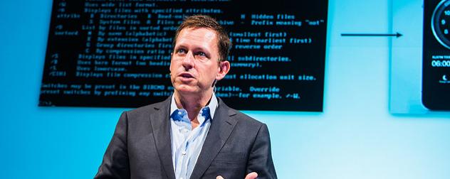 Peter Thiel delivering a speech