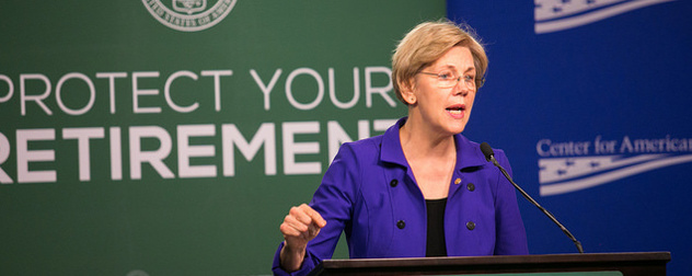 Elizabeth Warren speaking in front of a banner that reads Protect Your Retirement