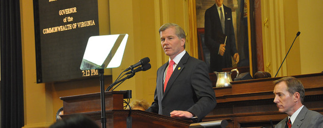 Bob McDonnell at a lectern with a teleprompter, delivering the State of the Commonwealth address in 2013