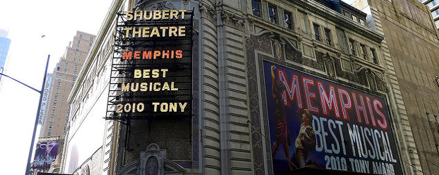 Shubert Theatre displaying the 'Memphis' marquee, including Best Musical Tony Award
