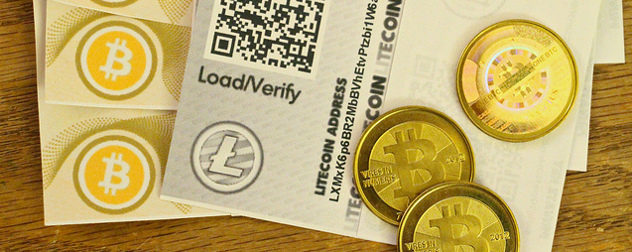 cards for litecoin and bitcoin, along with physical bitcoins