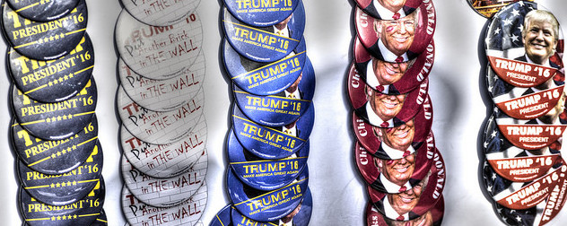 Donald Trump campaign buttons, arranged in rows vertically