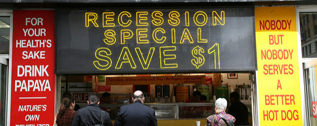 Gray's Papaya counter with sign reading Recession Special Save $1