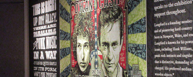 detail of mural featuring Bob Dylan and Johnny Cash