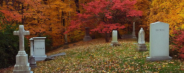 headstones in front of a background of autumn foliage