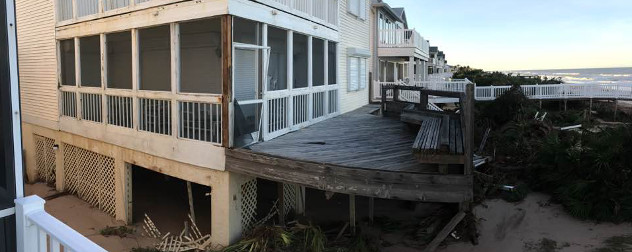 damage to a Florida beach property in the wake of Hurricane Matthew