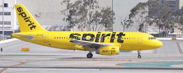 Spirit Airlines plane on the runway at LAX