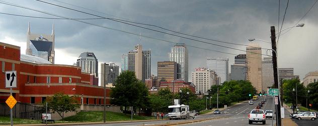 Nashville skyline under an undercast sky