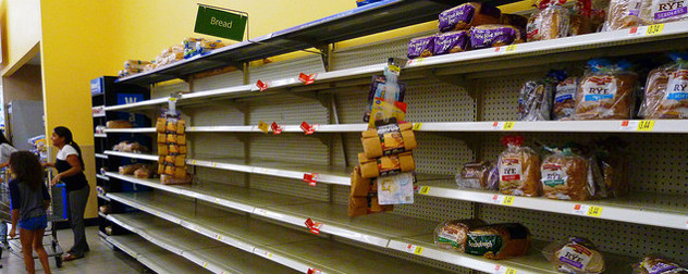 bread aisle at Wal-Mart, empty except a few loaves of rye