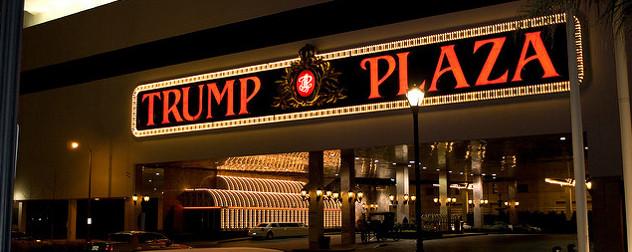 Illuminated sign for Trump Plaza entrance