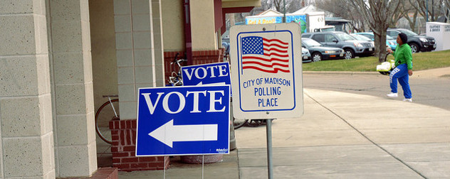 Vote signs outside a City of Madison (Wisconsin) Polling Place