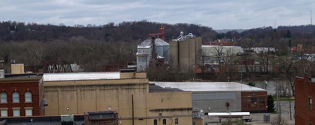 downtown Zanesville, Ohio in winter