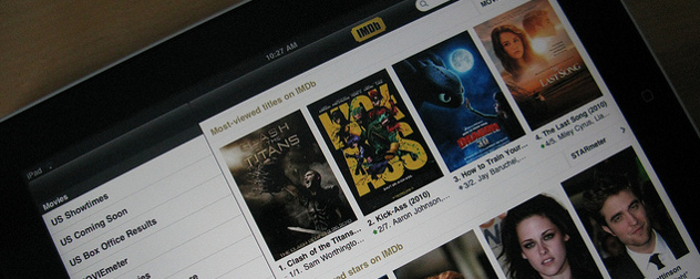 detail of IMDb displayed on an iPad