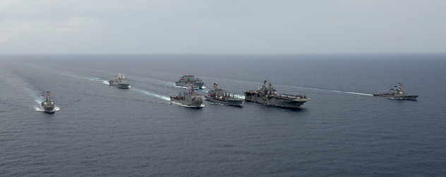 U.S. military vessels in formation on the water