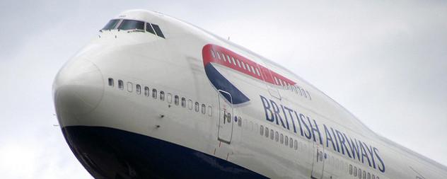 detail of a British Airways branded 747 jet