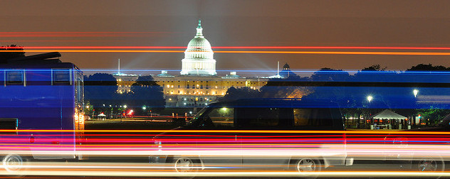 time-lapse view of the U.S. Capitol at night