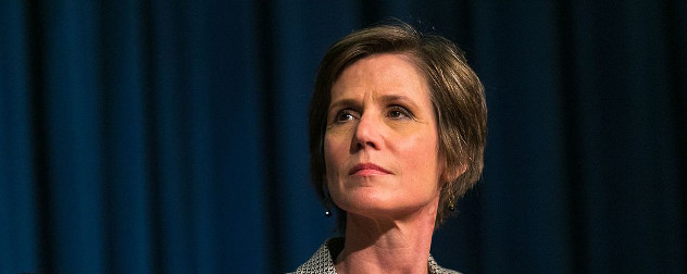 close-up of Sally Yates against a blue curtain