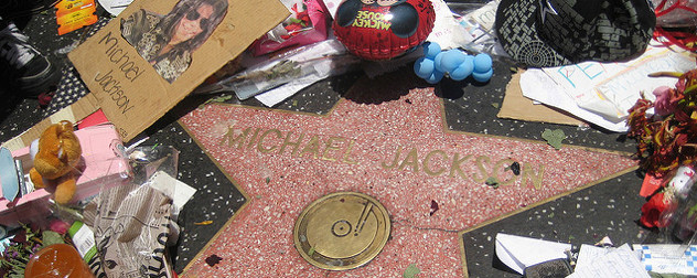Michael Jackson's Walk of Fame star with flowers and gifts following his death in 2009