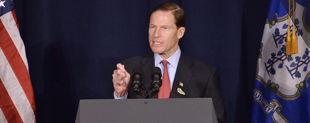 Richard Blumenthal speaking at a podium