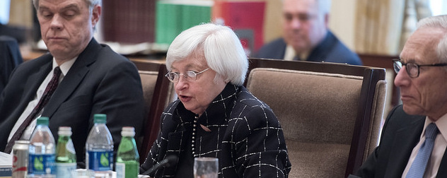Janet Yellen at a 2016 meeting of the Federal Open Market Committee (FOMC)