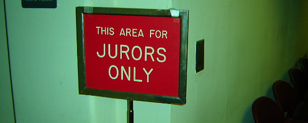 This Area For Jurors Only sign with red background