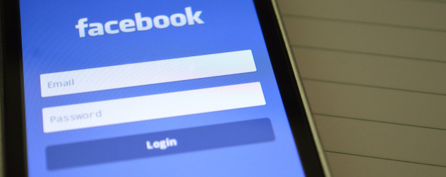 Facebook login screen on a smartphone display