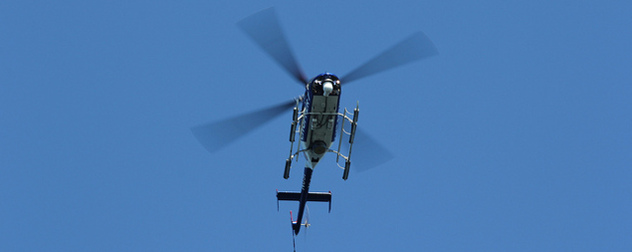 News helicopter seen in flight from below