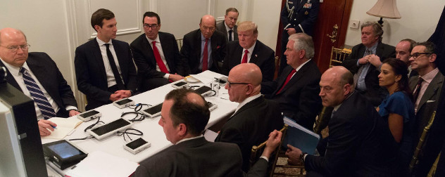 Donald Trump and his national security team attend a teleconference