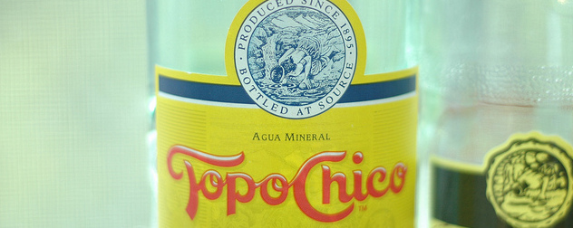 detail of a Topo Chico label