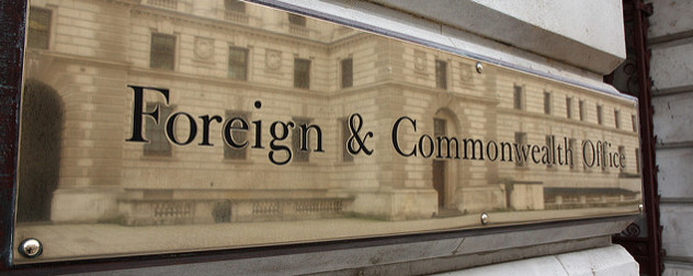 outdoor sign that reads Foreign and Commonwealth Office