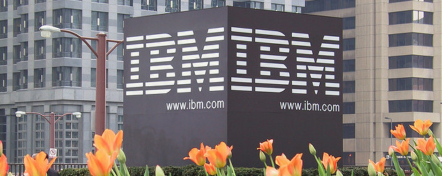 IBM sign among orange tulips in Chicago