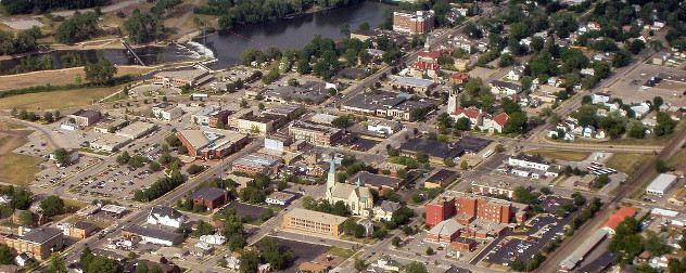 aerial view of downtown Mishawaka, Indiana
